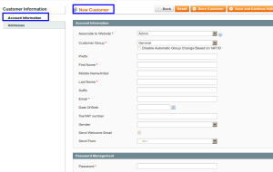 magento admin customer information