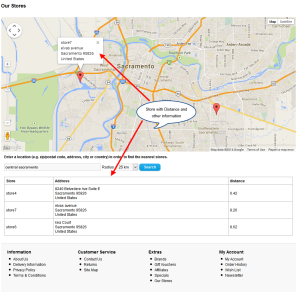 store locator frontend view