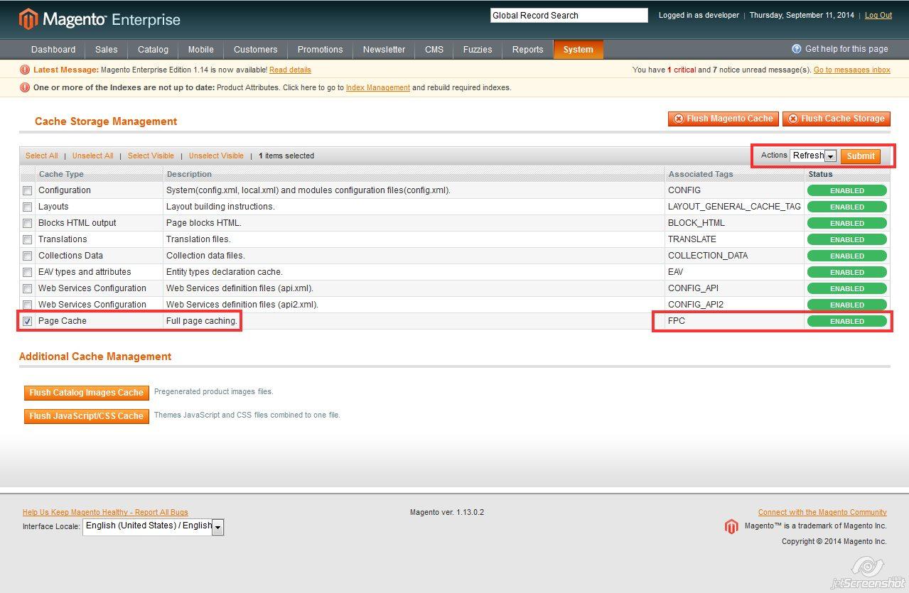 magento FPC refresh admin configuration