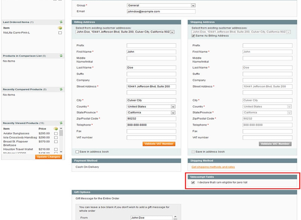 magento 1 vat exempt check vat exempt field from admin