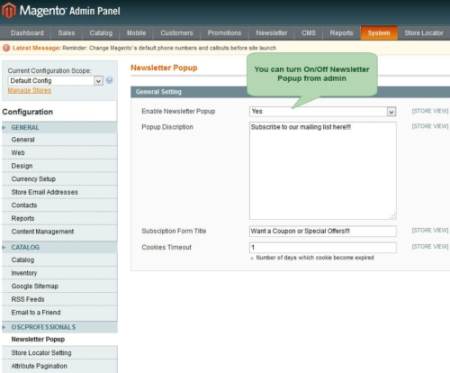 advance newsletter magento1 set On/Off newsletter popup from admin panel