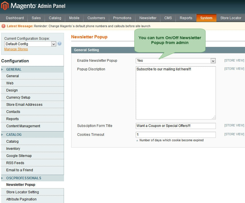 set On/Off newsletter popup from admin panel in advance newsletter magento1
