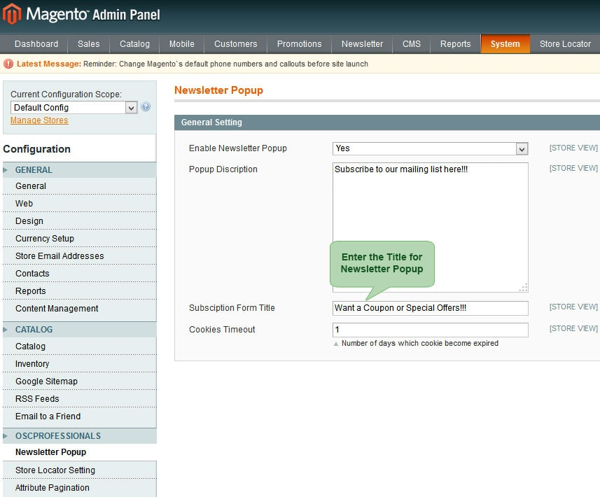 set title for newsletter popup from admin panel in advance newsletter magento1