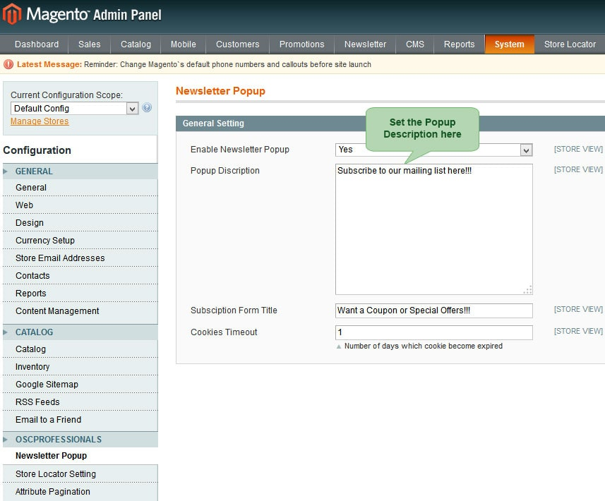 set popup description from backend in advance newsletter magento1