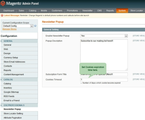 advance newsletter magento1 set cookies timeout from admin panel