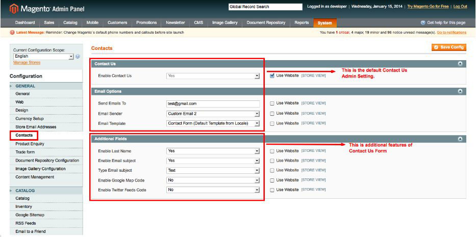 advanced contact us magento1 enable module from admin panel