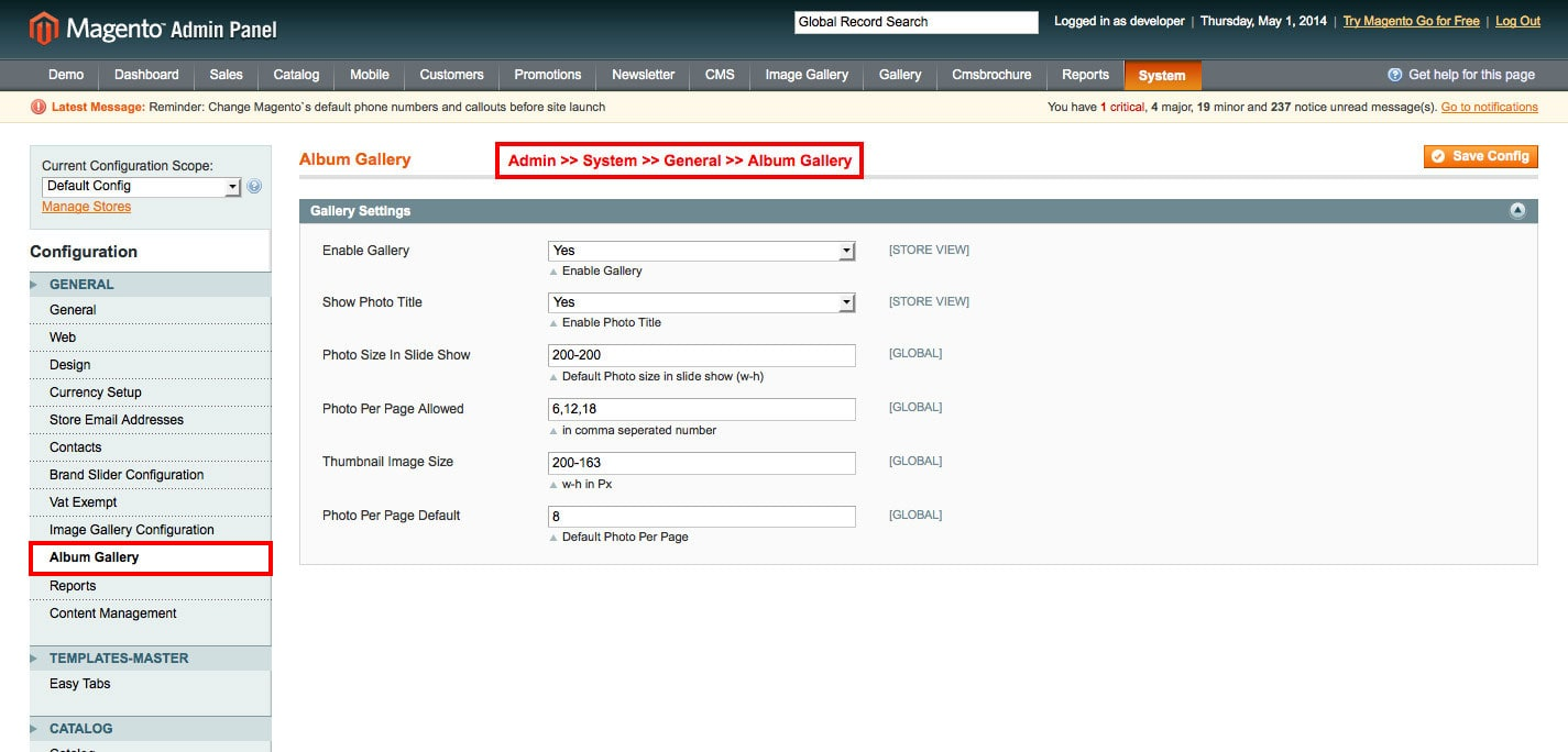 album gallery magento1 enable imge gallery module from admin