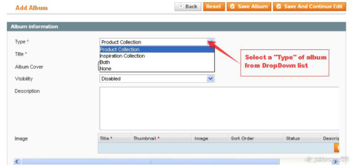 select of album for dropdown list in magento1 album gallery magento1