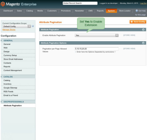 magento1 attribute pagination enable extension from admin panel