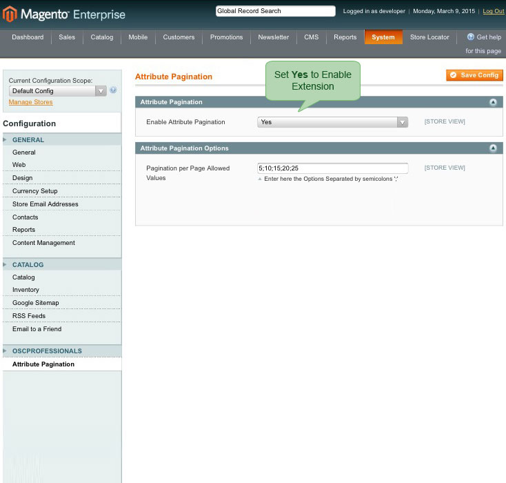 enable extension from admin panel for attribute pagination magento1