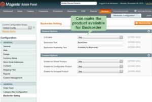 magento1 back order set product for backorder