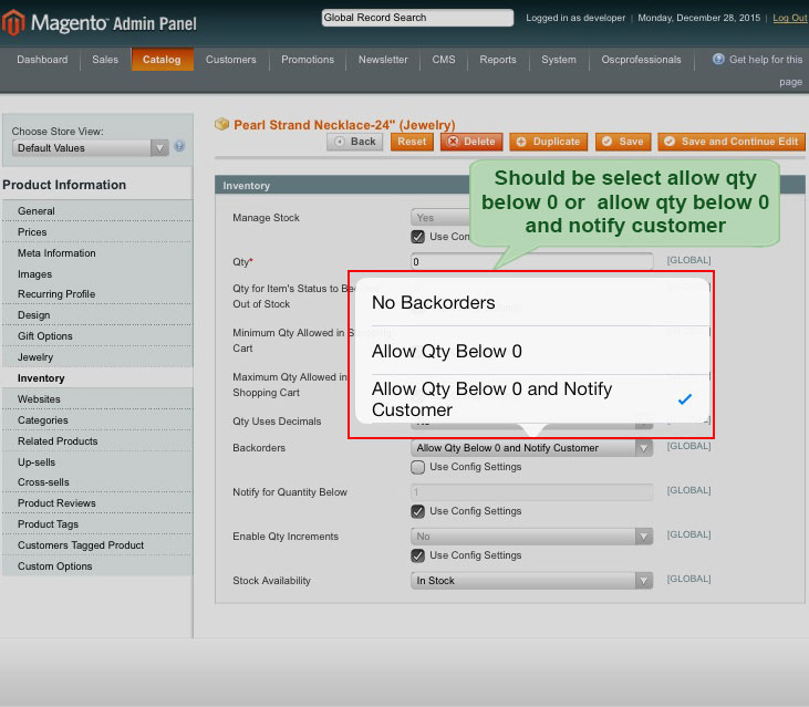 select qty and notify customer in back order magento1