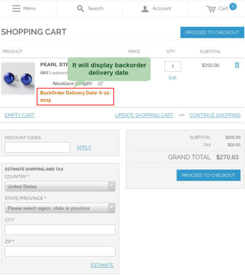 magento1 back order display on frontend backorder deliverly date