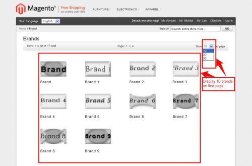 brand slider magento1 display brand option on page
