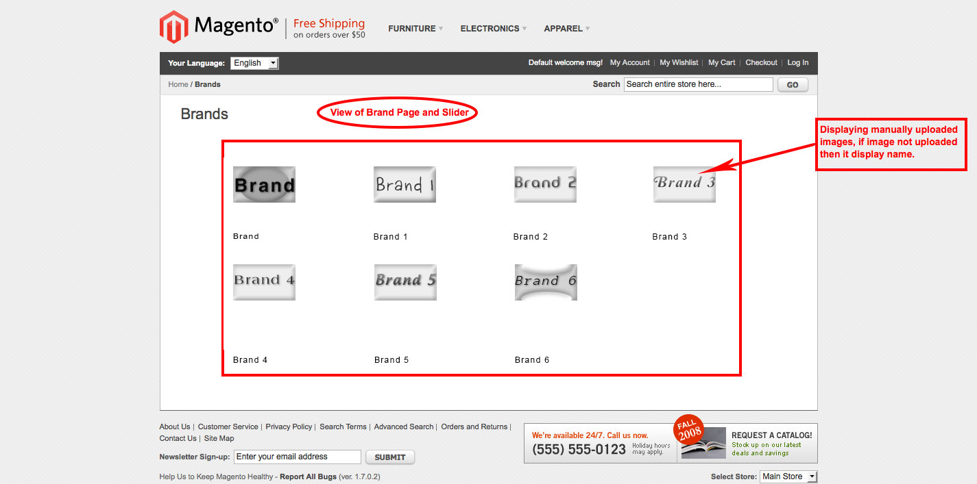 magento1 brand slider display manually uploaded images