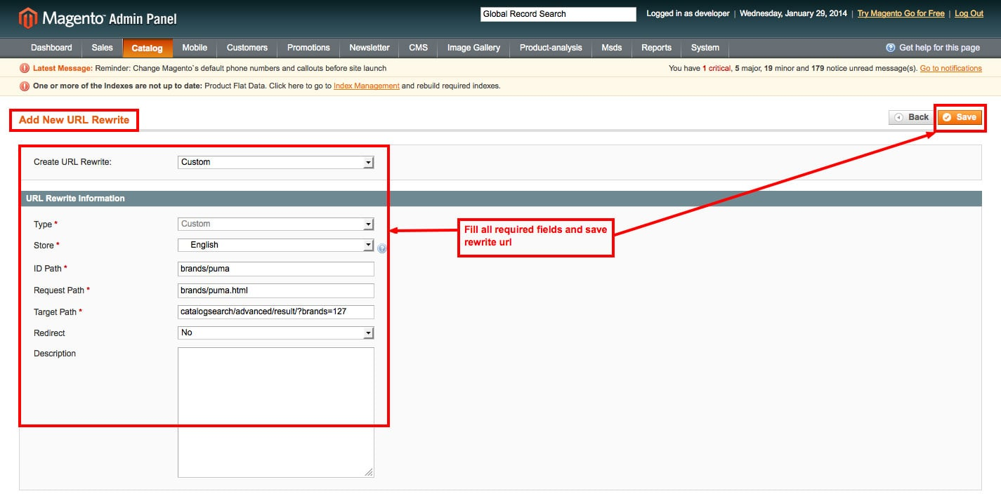 magento1 brand slider fill all required filed for rewrite url from admin