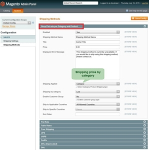 in magento 1 shipping method set as shipping price by category