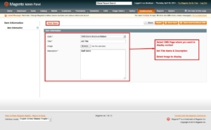 magento1 cms brochure set page content and select image from admin panel