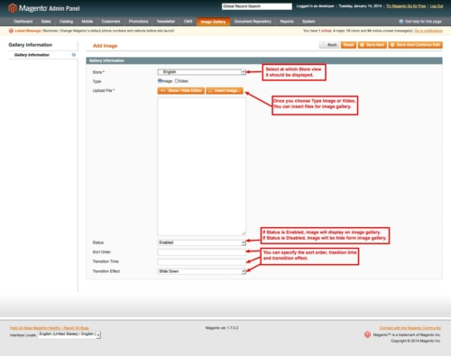 magento1 image gallery add images from admin panel