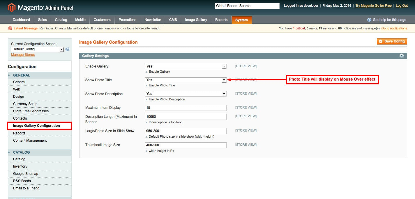 set image title from admin panel forimage gallery magento1