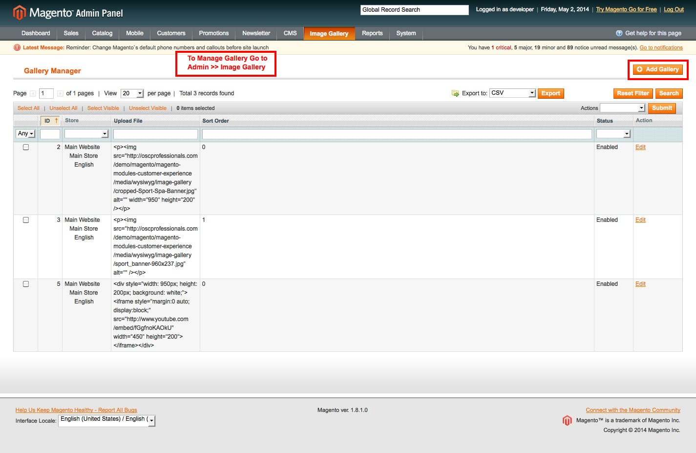 manage image gallery go to admin panel for image gallery magento1