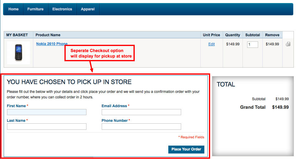 magento1 pick up store separate checkout option
