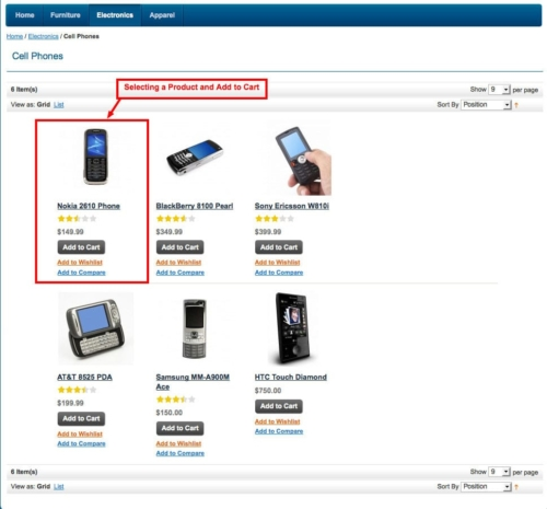 select product and add to cart in gallery pick up store magento1