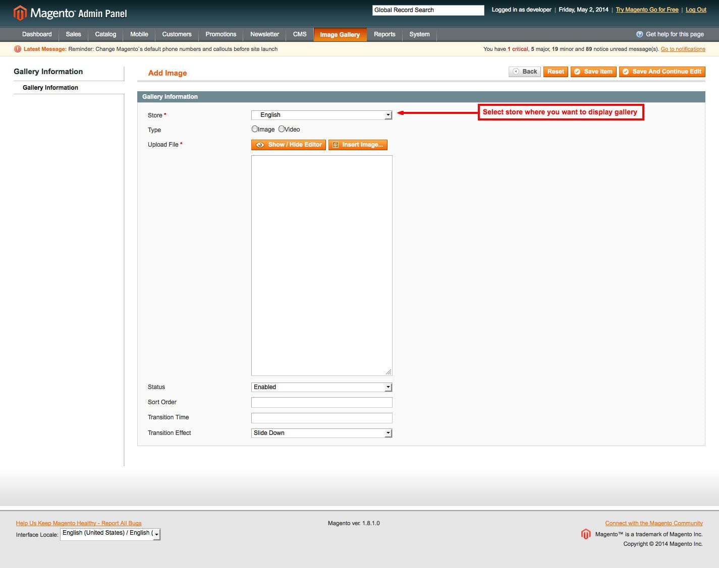 magento1 pick up store select store when display gallery