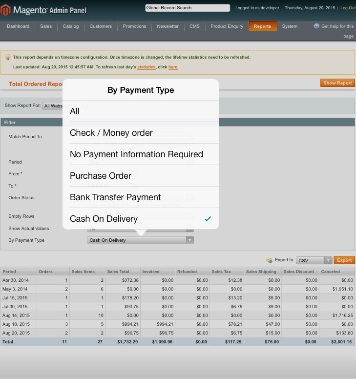 magento1 sales order report for change type payment from admin