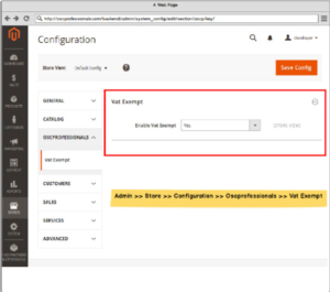 magento 2 vat exempt module admin configuration