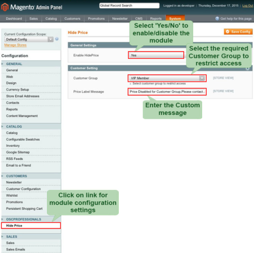 magento1 hide price enable module from admin panel
