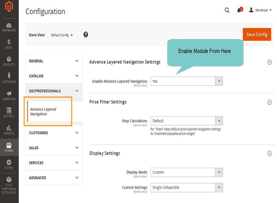 layered navigation magento 2 admin configuration