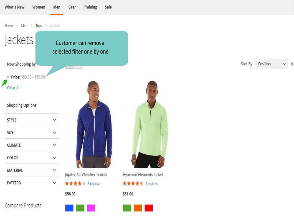 layered navigation magento 2 customer remove selected filter