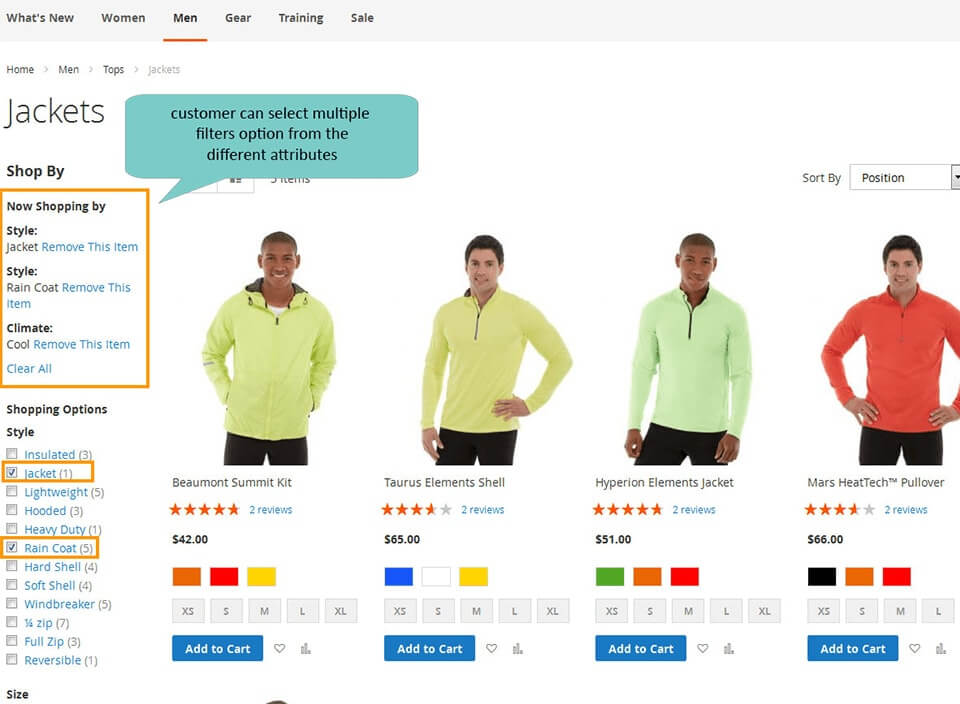 customer selects multiple filter in layered navigation magento 2