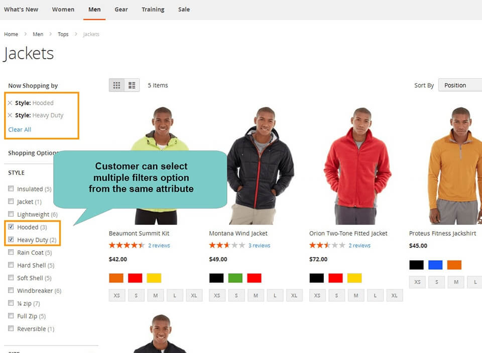 customer selects multiple filter in layered navigation magento 2 with same attribulte