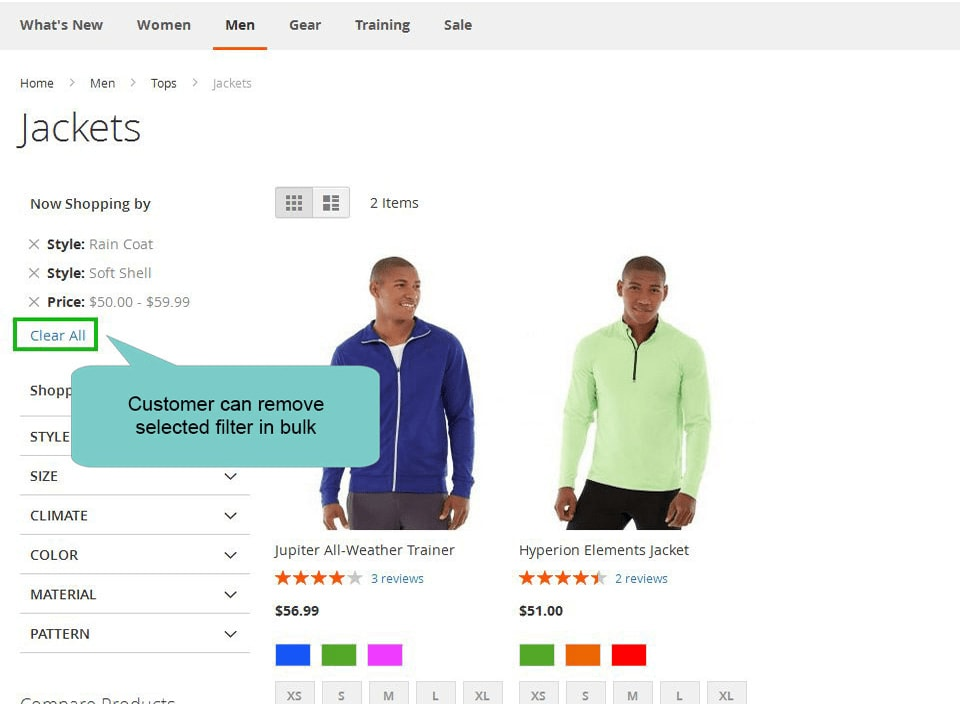 layered navigation magento 2 remove filter in bulk