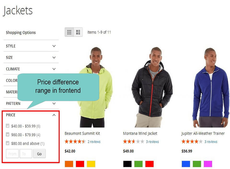 price difference on frontend in layered navigation magento 2