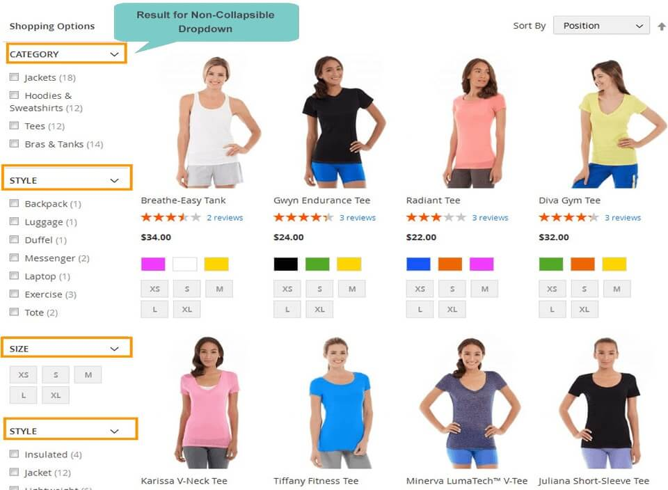 display single collapsible dropdown in layered navigation  magento 2