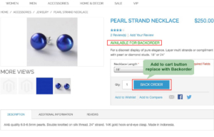magento1 back order set cart button replace with backorder