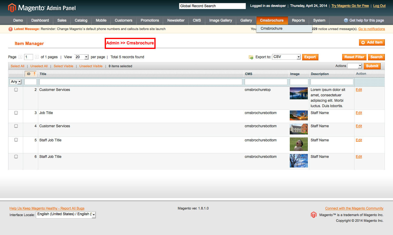 magento1 advanced contact us enable module from admin panel
