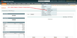 admin panel order report configuration for product order report magento1