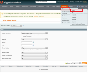 magento1 sales order report check total order report