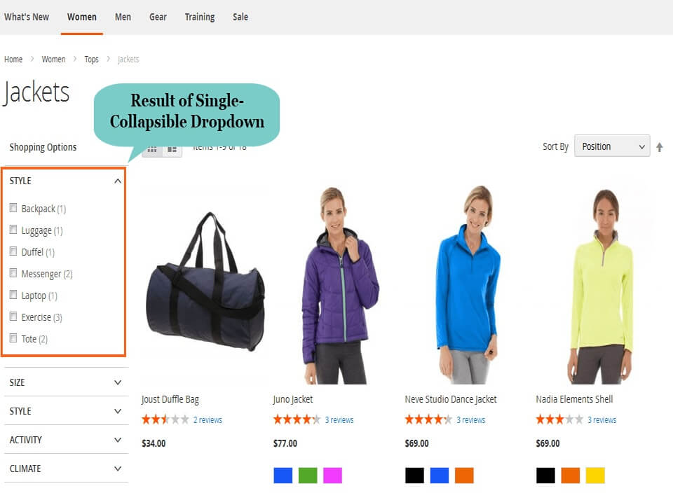 magento 2 layered navigation of collapsible dropdown