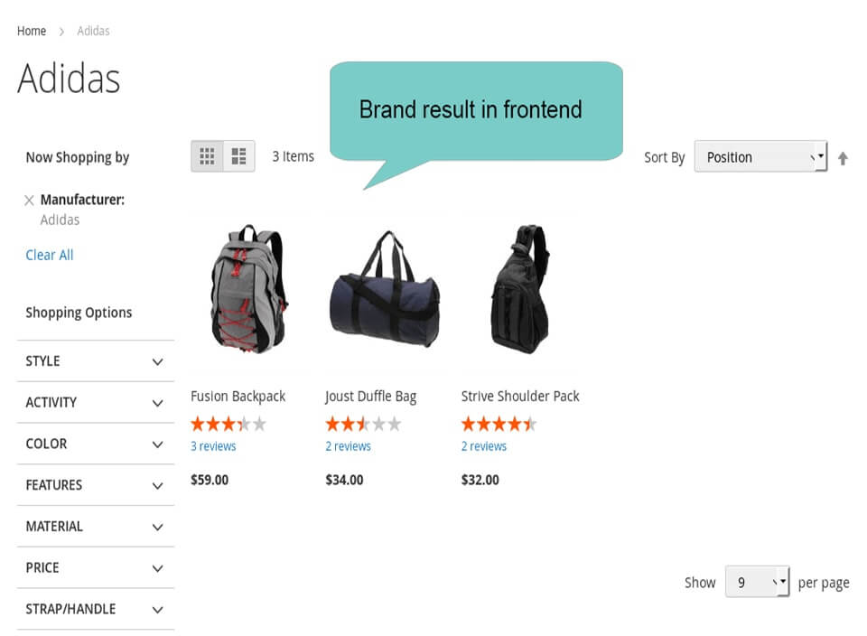 magento 2 layered navigation for brand filter result
