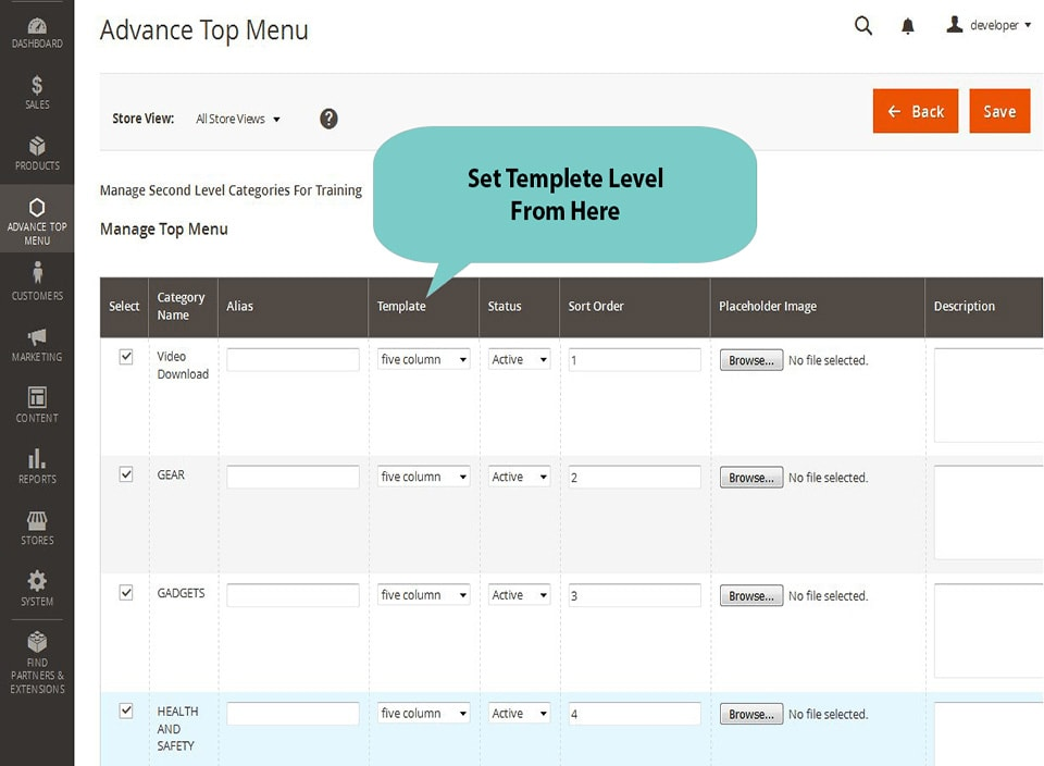magento2 megamenu select template level from backend