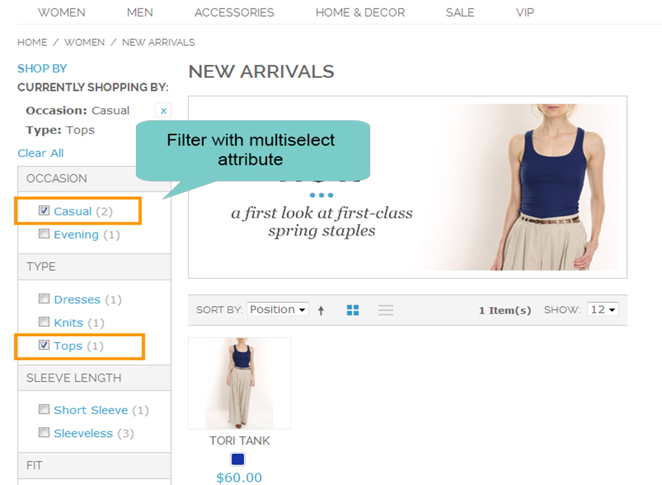 magento 1 layered navigation filter with multiselect attibute
